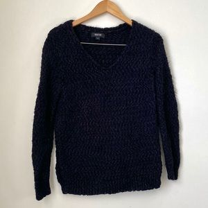 Kenneth Cole Fuzzy V-Neck Black Knit Sweater Small